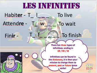 Present tense ER, IR, RE verbs - Differentiated lesson , verb grids and homework task