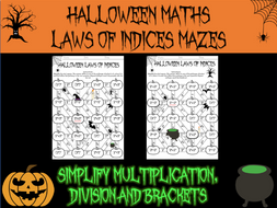 Halloween Maths - Laws of Indices mazes