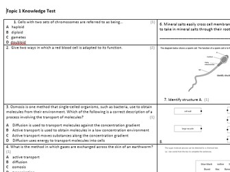 Edexcel Combined Science Biology Knowledge Assessments