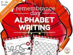 remembrance day themed cursive alphabet number handwriting worksheets for 7 to 11 yrs ks1. Black Bedroom Furniture Sets. Home Design Ideas