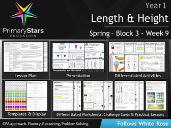 YEAR 1 - Measurement Length and Height - White Rose - WEEK 9 - Block 3 - Spring- Differentiated Pack