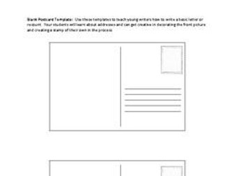 Free Printable Postcard Template Teaching Resources