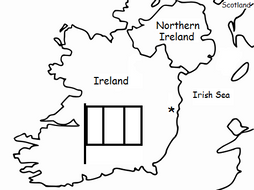 IRELAND - Printable handout with map and flag