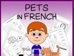 French Pets Vocabulary Sheets, Printables, Matching & Bingo Games