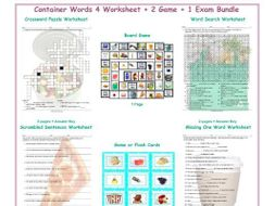 Container Words 4 Worksheet-2 Game-1 Exam Bundle
