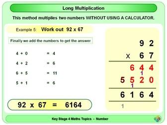 Long Multiplication - Traditional Method KS4