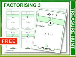 Factorising 3  (Treasure Hunt)