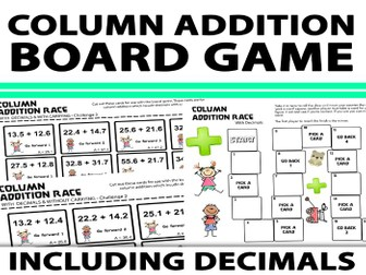 Column Addition Board Game With & Without Carrying Including Decimals
