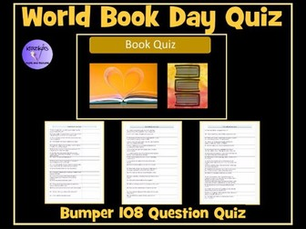 World Book Day Quiz- 108 Question Paper-Based Book Quiz