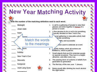 New Year Matching Words Worksheet with Answers