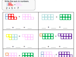 numicon  addition worksheets by rjm  teaching resources  tes