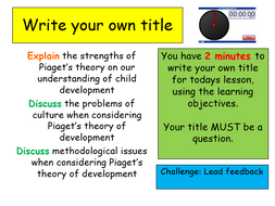 Edexcel Psychology (9-1) GCSE New Spec Unit 2 Lesson 5 - Evaluating Piaget's theory