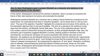 Macbeth and the Supernatural GCSE Essay