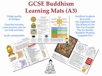 GCSE Buddhism Learning Mats (3 x A3) [Revision, Displays,Differentiation, PLC, Buddhist, Symbols]