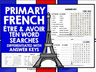 PRIMARY FRENCH ÊTRE & AVOIR WORD SEARCHES
