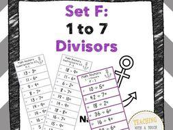 Division Anchors Set F: 1 to 7 Divisors