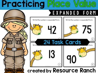 Place Value Task Cards for Expanded Form Practice