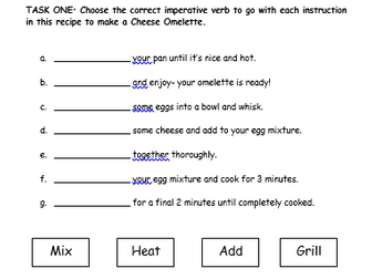 Complete The Instructions With The Correct Imperative Verb
