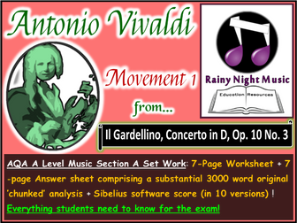 VIVALDI CONCERTO in D MAJOR GARDELLINO 1st Movement AQA A Level Music Section A