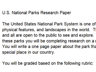 National Parks Research Paper