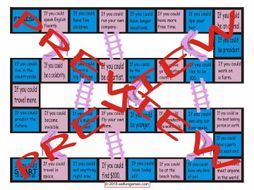 Conditional Sentences Type 2 Chutes and Ladders Board Game