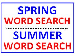 Spring Word Search Puzzle PLUS Summer Word Search Puzzle (2 Puzzles)