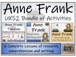UKS2 Anne Frank Timeline Display, Sorting, Reading Comprehension & Biography Bundle