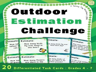 Estimation: Outdoor Problem Solving Task Cards