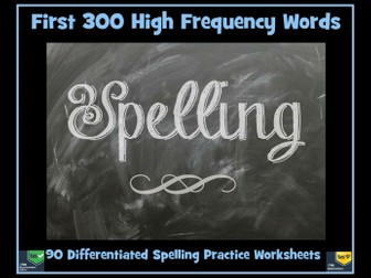 High Frequency Words - 90  Spelling Worksheets