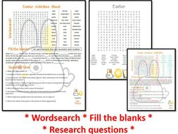 Easter activities worksheet - wordsearch plus fill the blanks & questions