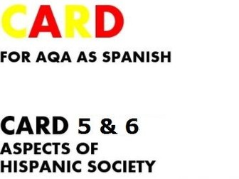 SPEAKING CARDS 5 & 6 for AQA AS SPANISH (new specification)