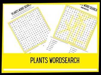 Plants wordsearch KS1 KS2