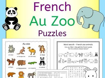 French Au Zoo - Zoo animals puzzles pack