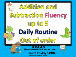 Addition and Subtraction Fluency Routine 5 in EnglishBilingual Stars Mrs Partida
