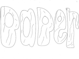 Paper (word): Materials and Properties Colouring Page