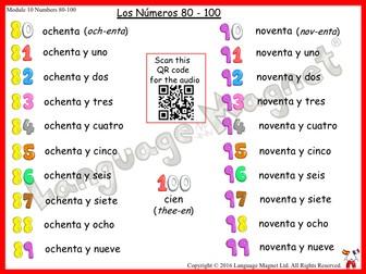 Spanish Numbers 80 to 100 Audio Sheet
