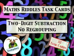 Maths Riddle Task Cards - Two-Digit Subtraction - No Regrouping