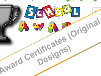 Award Certificates Early Learning  (8 different) One table for Mail Merge