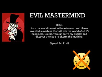 Quiz, ( Citizenship) Try crack the Evil Masterminds puzzles to save the world.