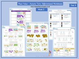 Year 4- Autumn Term- Block 1- Week 3- Place Value Differentiated Worksheets- White Rose Style