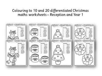 Colour by adding to 10 and  20 Maths Christmas number worksheets - Reception / Year 1