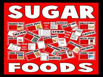 SUGAR TEACHING RESOURCES KS2 DISPLAY FOOD TECHNOLOGY HEALTHY EATING SCIENCE