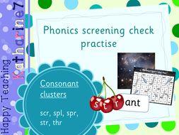 Consonant clusters - phonics screening check practise