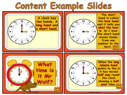 Beginning to Tell the Time - animated PowerPoint teaching resource and worksheet