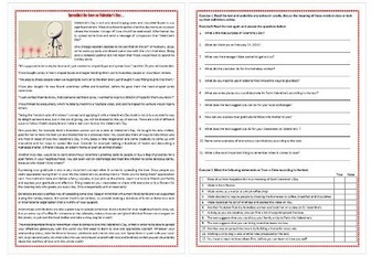 Spreading the Love on Valentine's Day - Reading Comprehension Worksheet