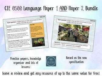 Cambridge IGCSE 0500  English Language Paper 1 and Paper 2 Bundle