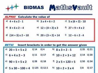 BIDMAS Differentiated Worksheet