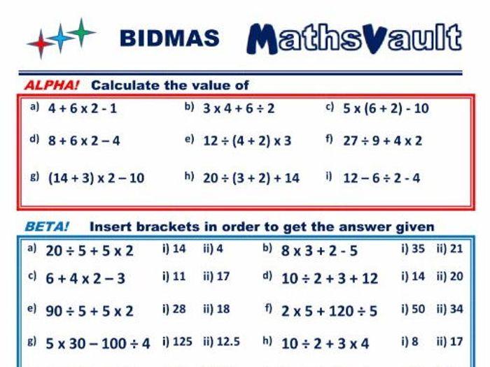 bidmas homework sheet tes
