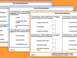 KS2 Tick the Word MeaningTest Practice GPS SATs 2018 Questions