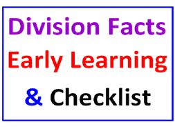 Division Facts Early Learning PLUS Division Facts Checklist (10 Worksheets)
